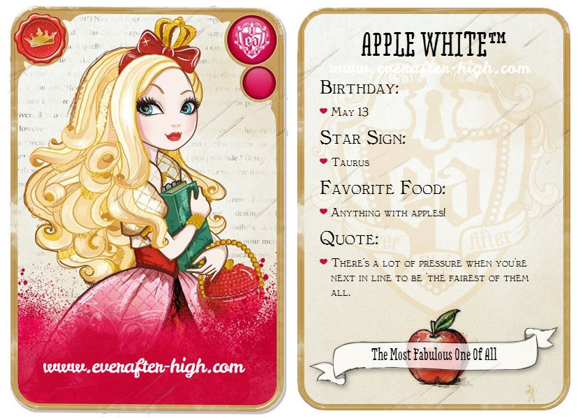 Apple White Ever After High card