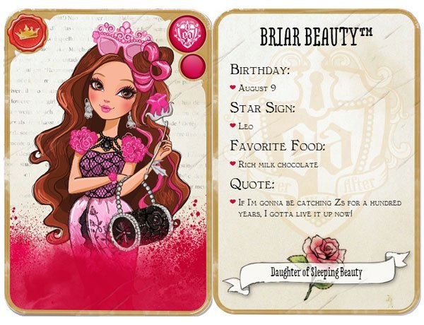 Front and back of the card of Briar Beauty of Ever After High