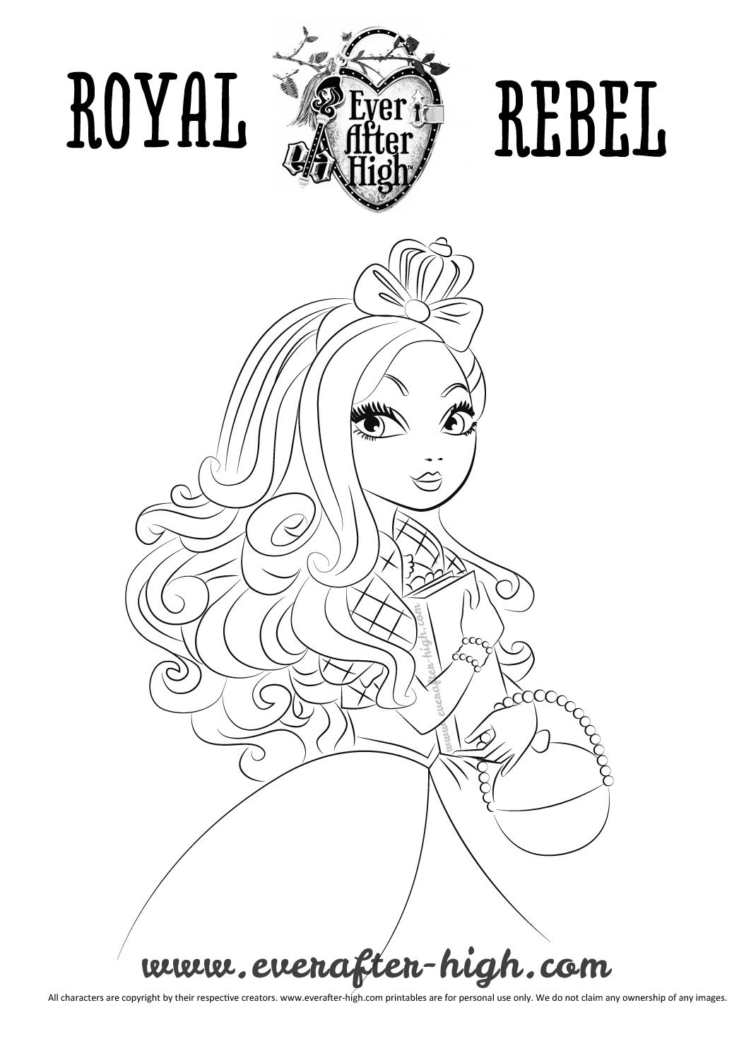 Black And White Outlined Apple Drawing Ever After High Coloring Page