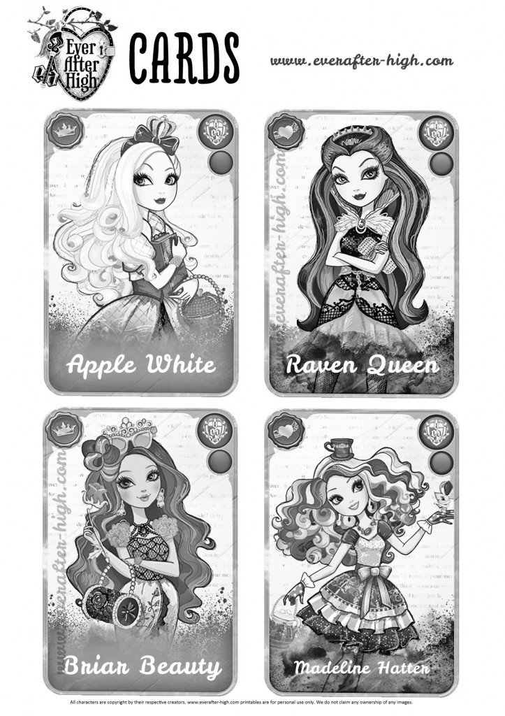 Coloring page with four ever after high cards with apple white, raven queen, briar beauty and madeline hatter, all in black and white outline to color it