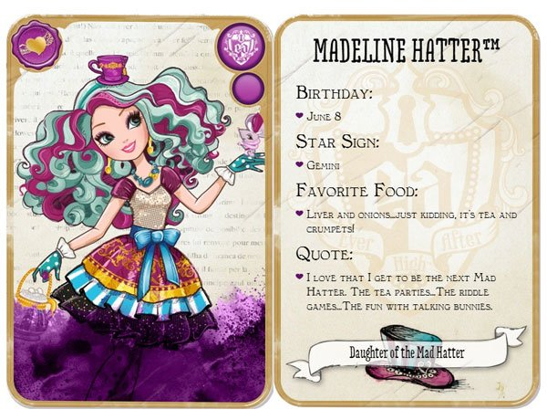Ever after high madeline hatter card