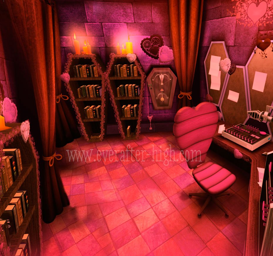pink room where cupid does her radio show, with her desk, books, and chair