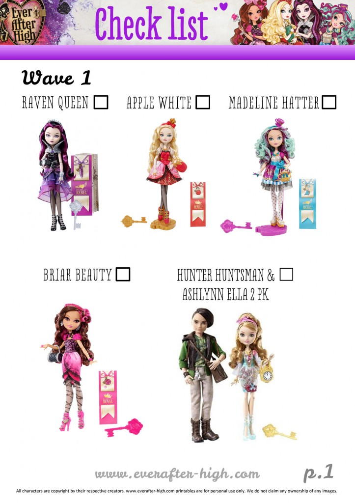 listinc control for the ever after high dolls bought