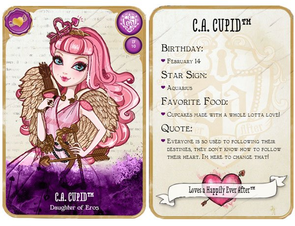 Image of the fond and the back of the card of C.A. Cupid