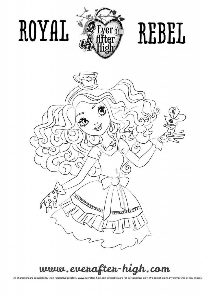 Madelin Hatter black and white outlined drawing for printing and coloring