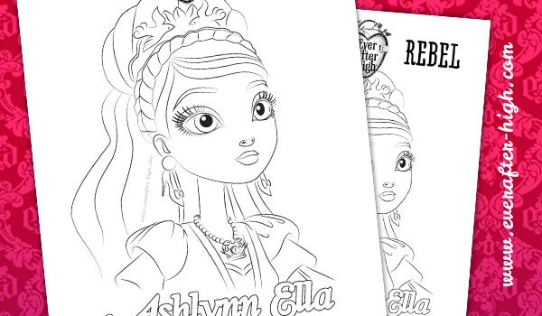 Ashlynn ella face coloring page ever after high for Ella coloring pages