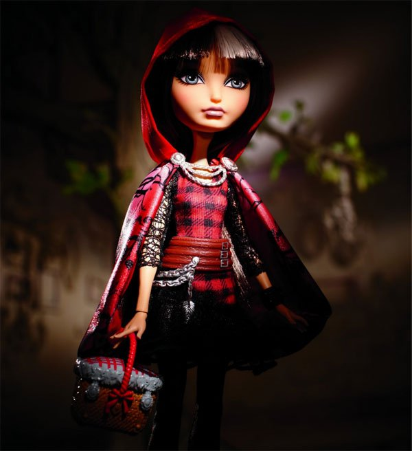 Cerise Hood Doll with a forest backgrond and beautiful illumination of photography photshoot
