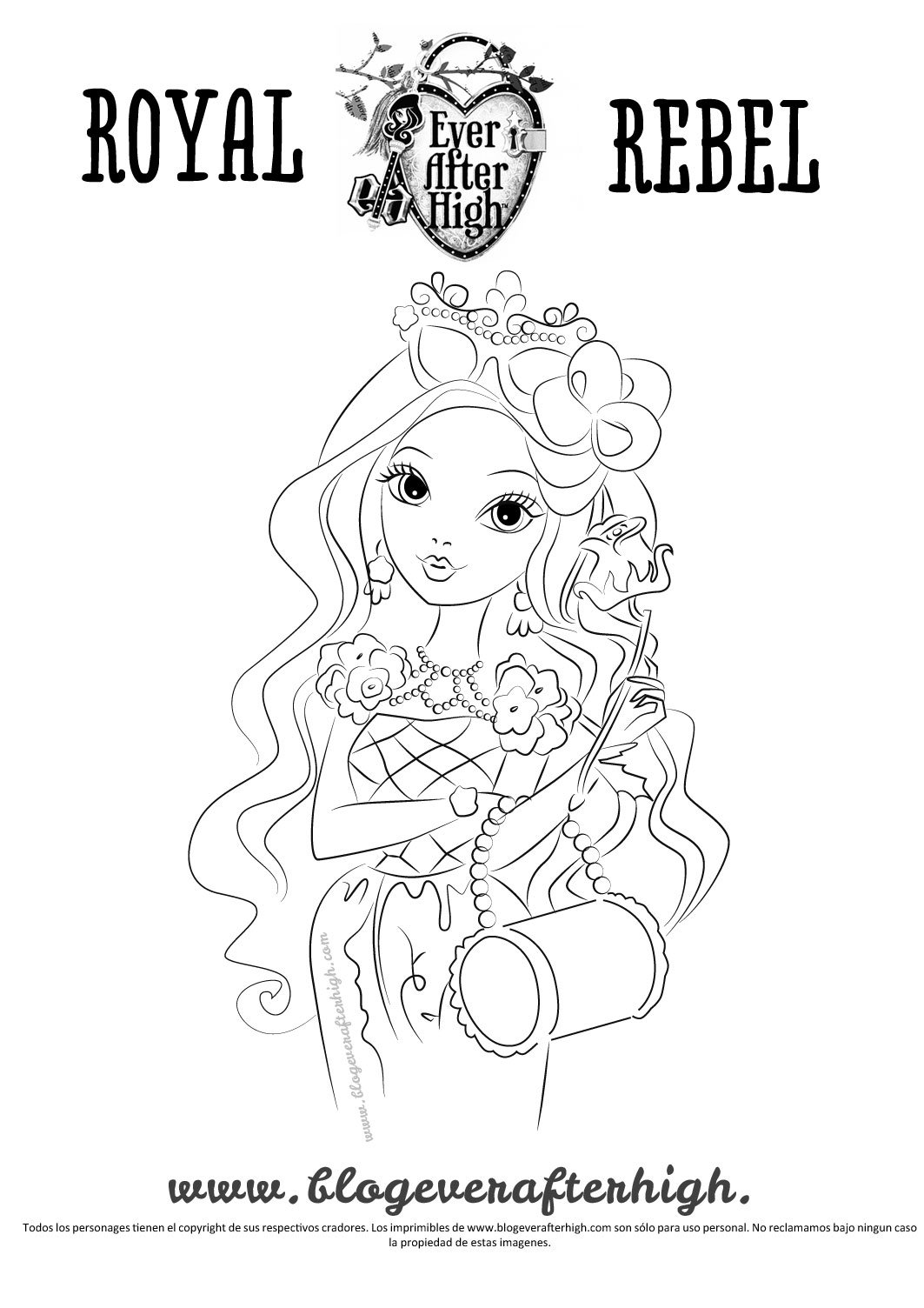 Card image of Briar Beauty in outlined black and white to print and color