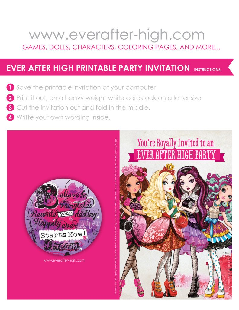 covers and instructions for printing at home a free ever after high invitation