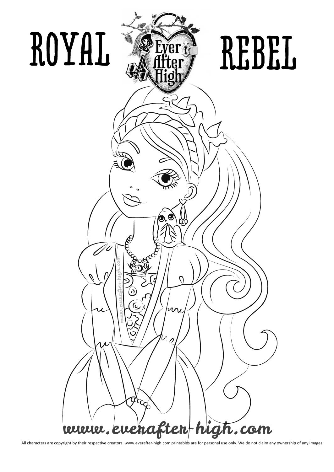 Ashlynn ella coloring page ever after high for Ella coloring pages