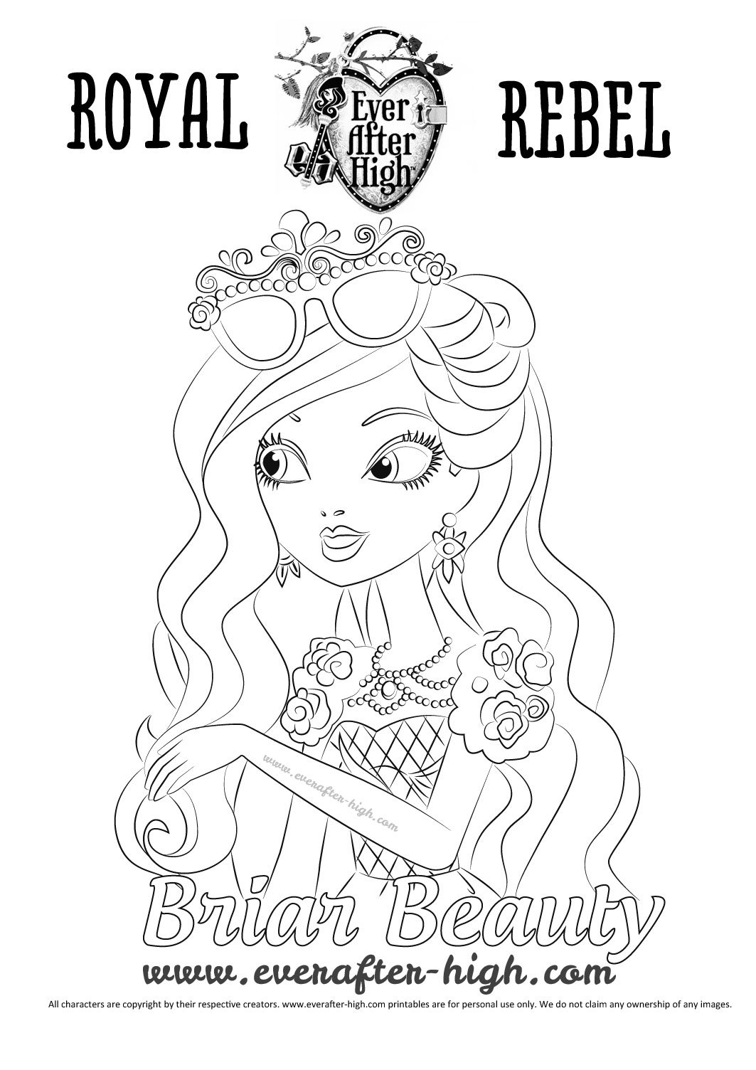 Briar Beauty's face coloring page   Ever After High