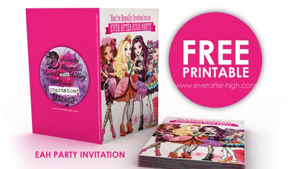 Ever After High printable party invitation