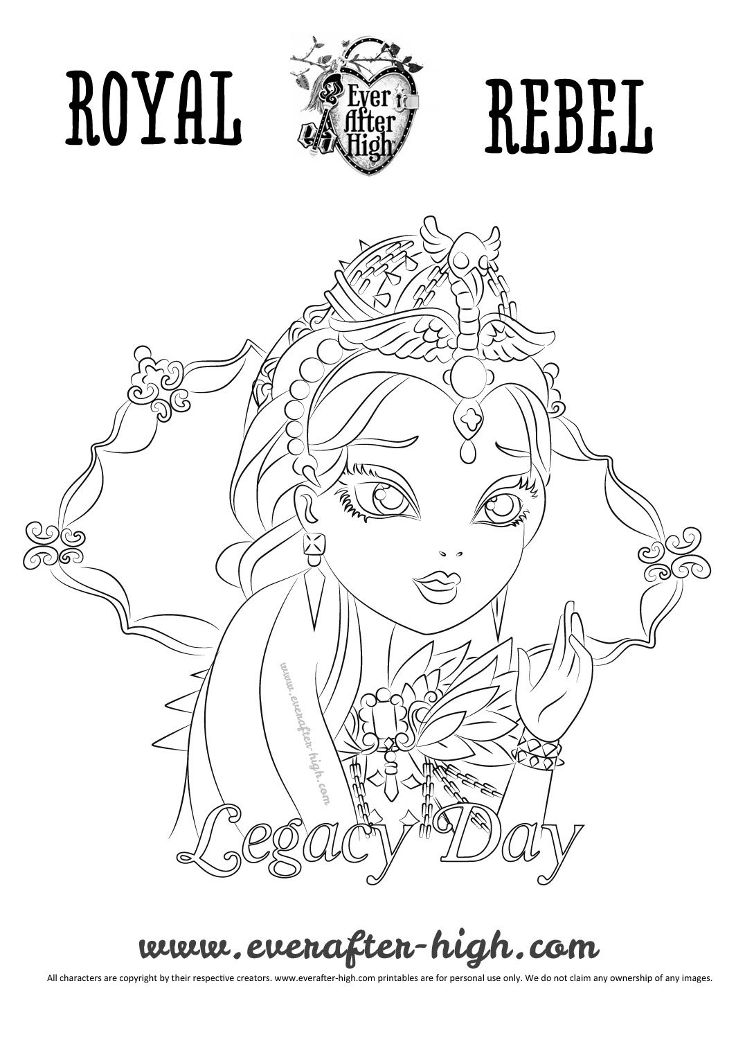 Legacy Day Raven Queen coloring page Ever After High