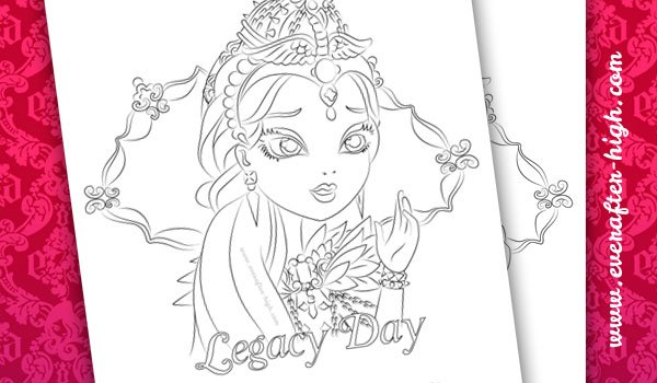 Coloring page of the Legacy Day Raven Queen