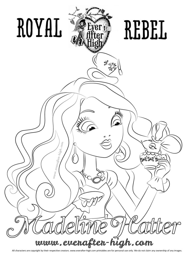 Outlined drawing of madeline hatter staring surprised at her teacup with a mouse