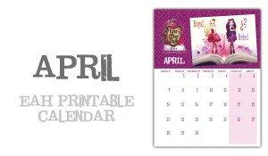 April Ever After High calendar page