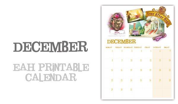 Ever After High 2014 Calendar – December