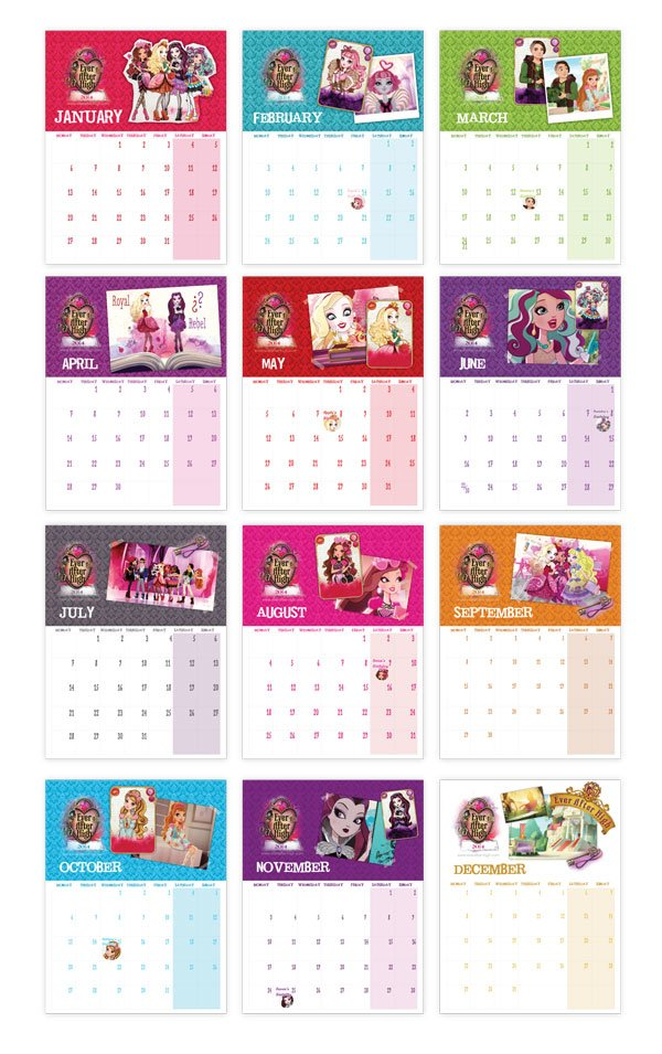 Ever After High printable calendar pages