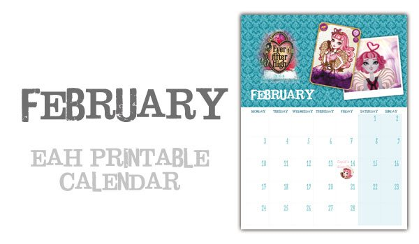 February page Ever After High Calendar