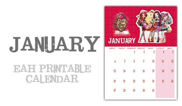 January page ever after high printable calendar