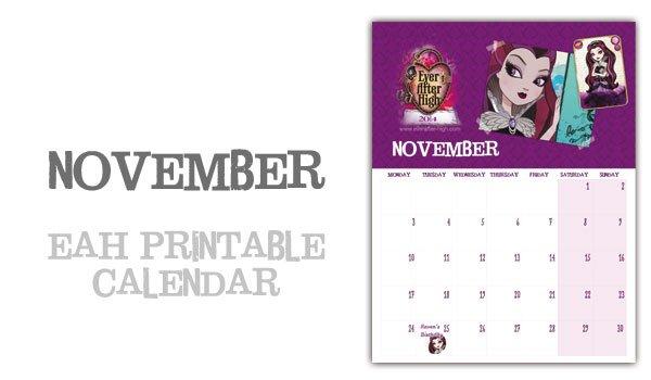 Ever After High 2014 Calendar – November