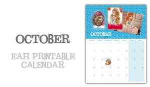 October printable page of EAH calendar