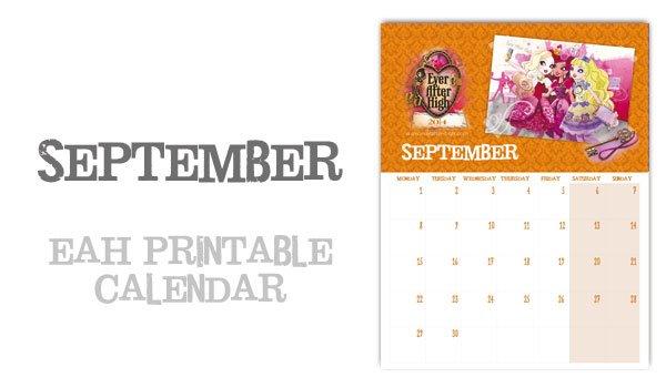 Ever After High 2014 Calendar – September