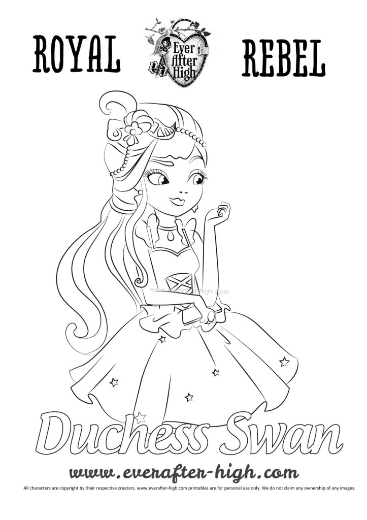 Ever After High Duchess Swan coloring page