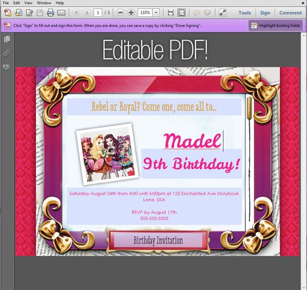 Mirrorpad Ever After High Invitation