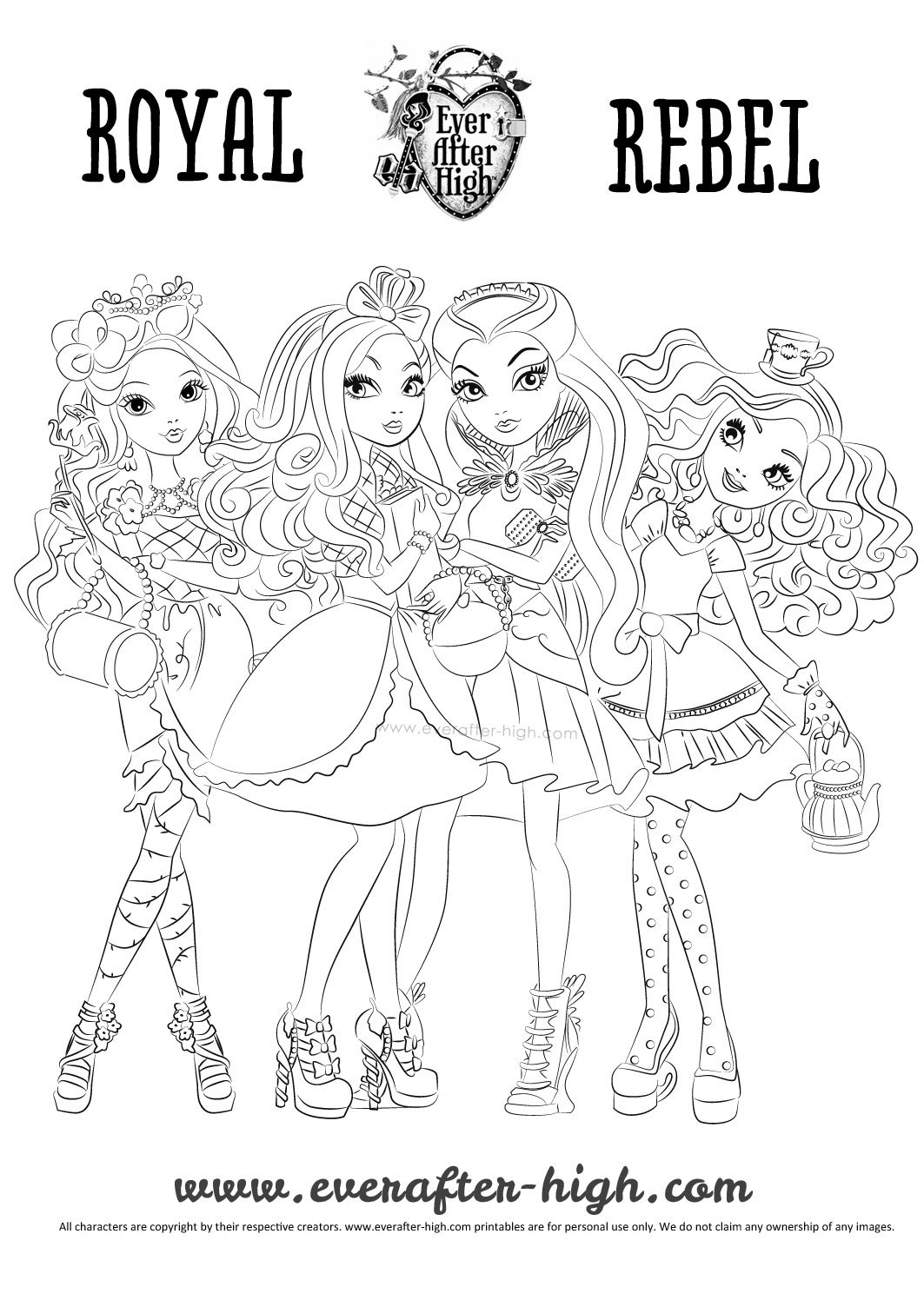Ever After High Raven Madeline Briar And Apple Coloring