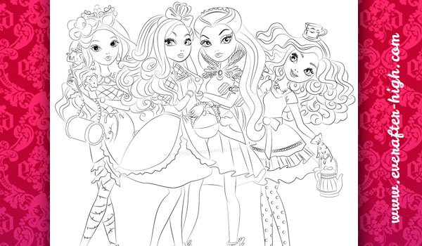 Ever After High Raven Madeline Briar And Apple Coloring Page