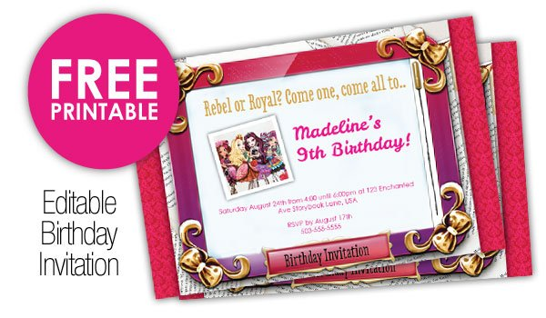 Ever After High printable invitation mirrorpad