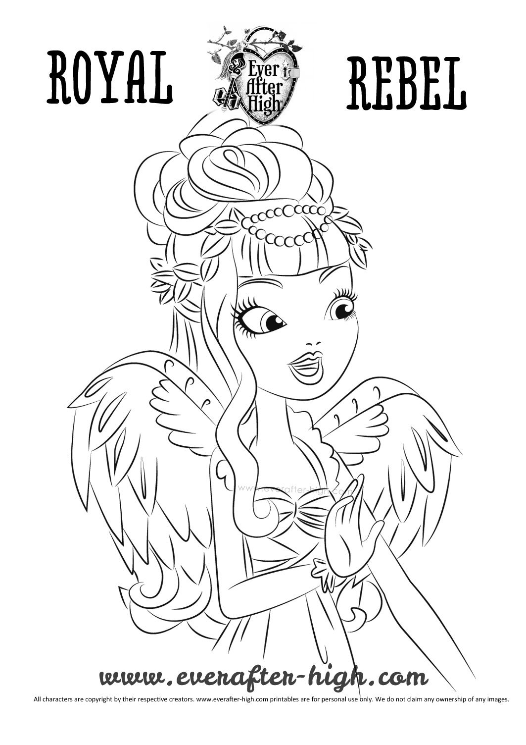 CA Cupid True Hearts Day Coloring Page Ever After High