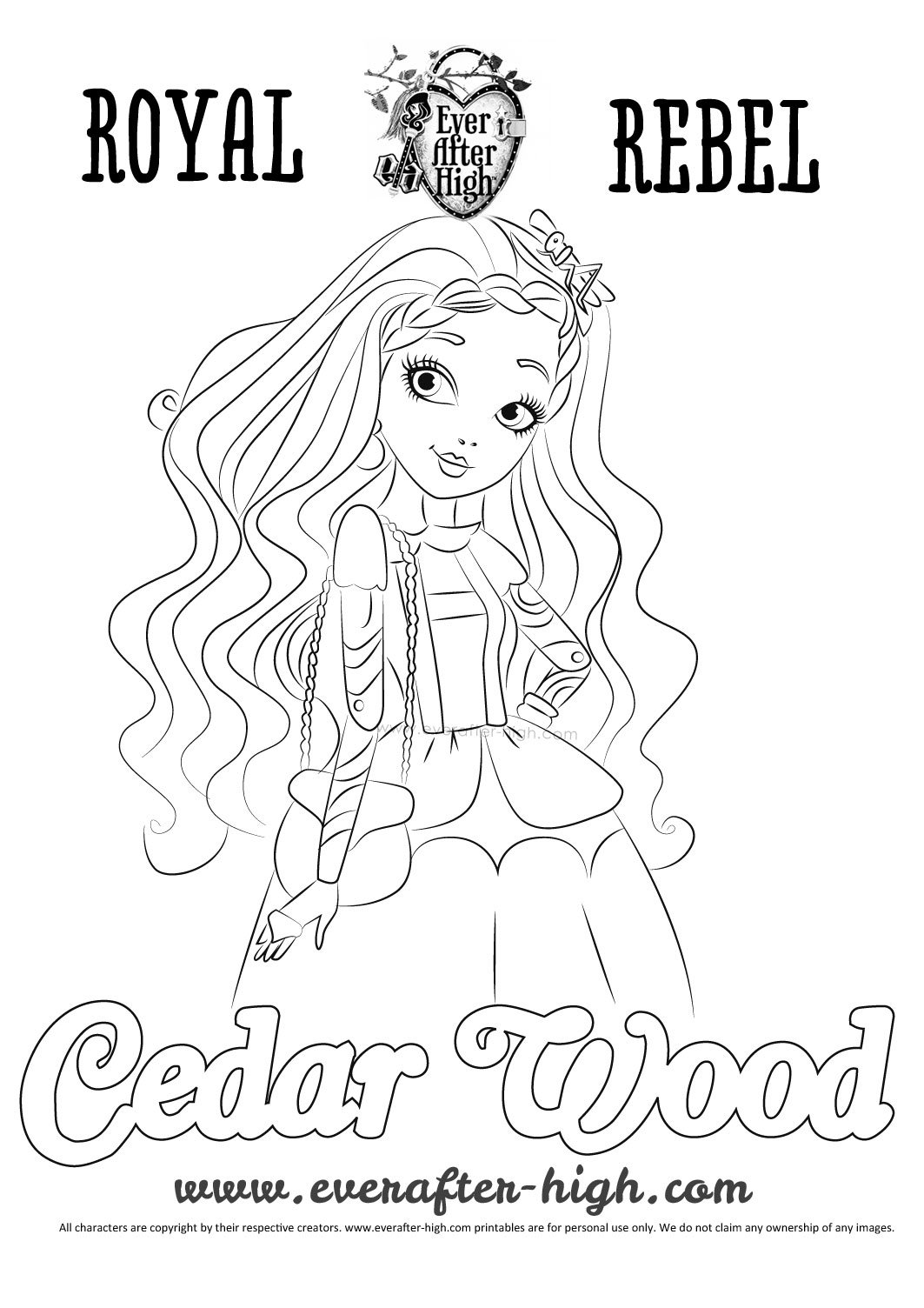 Printable coloring pages ever after high - Black And White Drawing Of Cedar Wood