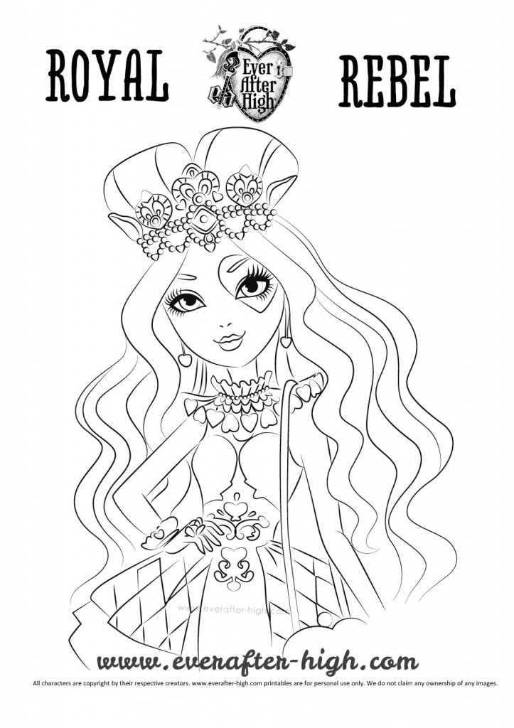 Lizzie Hearts Coloring Page Ever After High