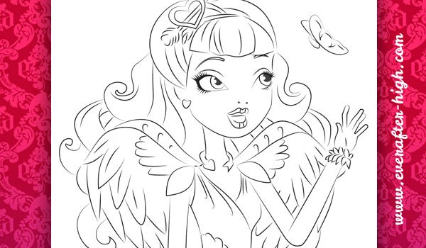 Coloring page of the C.A. Cupid with Butterfly