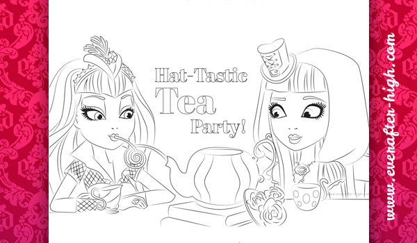 Coloring page of the Hat-Tastic party