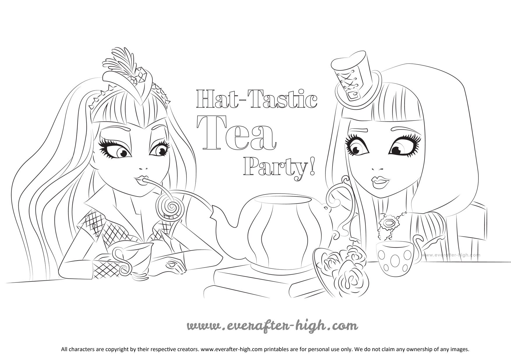 Raven Queen And Cerise Hood Hat Tastic Party Coloring Page