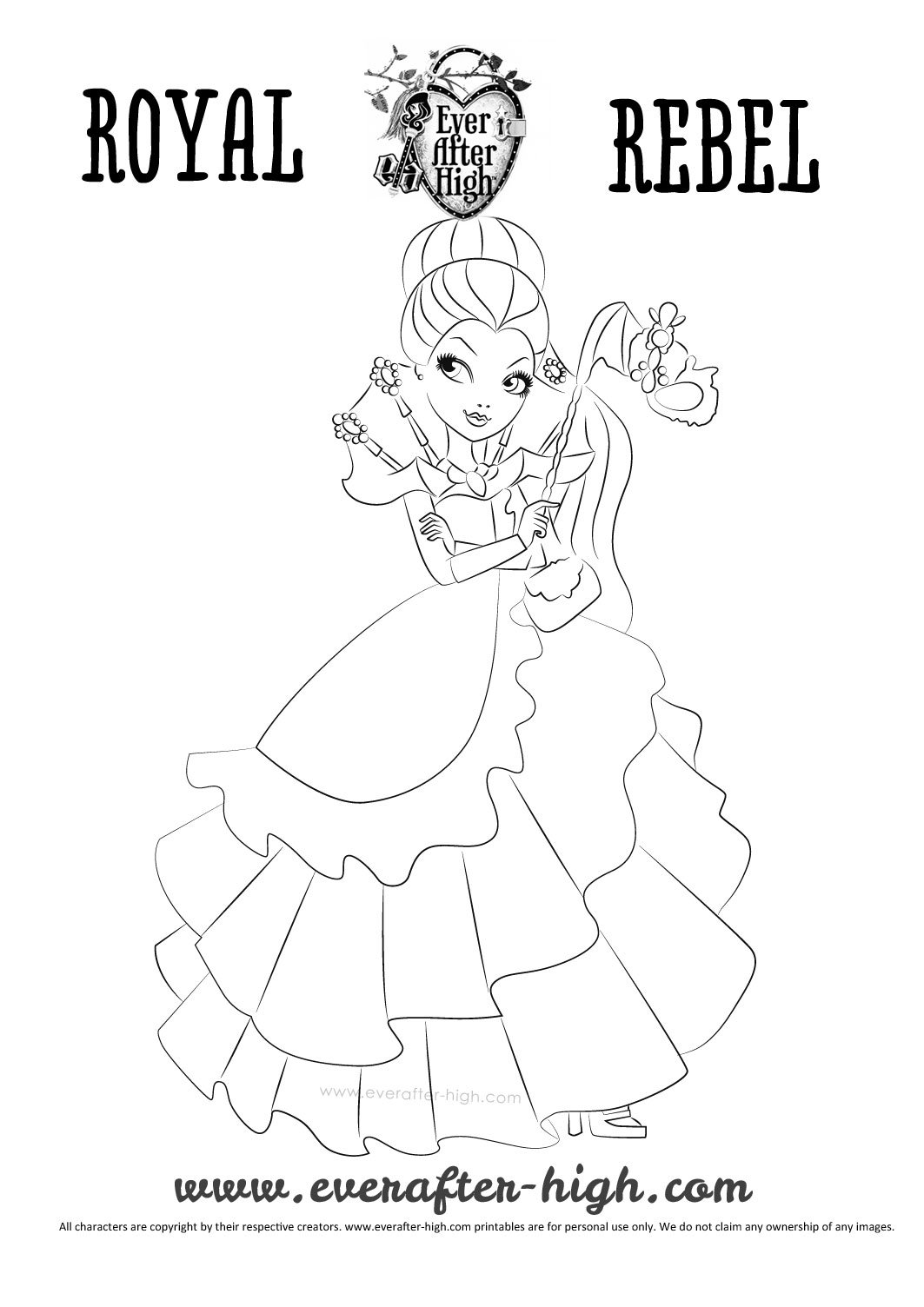 Raven Queen Thronecoming dress coloring page   Ever After High